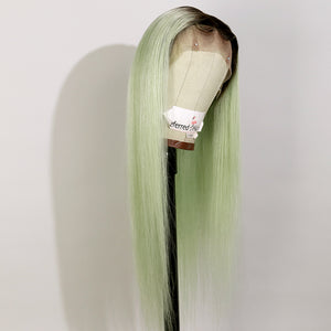 Preferred Human Green Ombre Black Lace Front Wigs Long Straight Remy Hair for Women