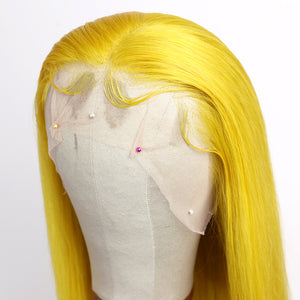 Preferred Human Hair Yellow Firefly Color Straight Lace Front Wigs for Women
