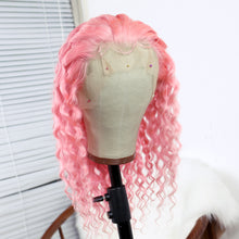 Load image into Gallery viewer, Preferred Human Hair Princess Pink Brazilian Human Hair Lace Wig Curly Short Bob  Wigs for Women