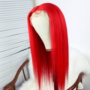 Vivid Red Remy Human Hair Wig with Lace Front and Baby Hair