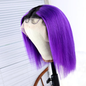 Short Purple Remy Human Hair Bob Wig with Dark Roots