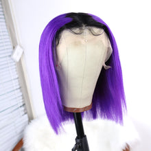Load image into Gallery viewer, Short Purple Remy Human Hair Bob Wig with Dark Roots