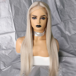 Bargain Products Preferred Hair Gray Brazilian Long Straight Wig of Human Hair with Baby Hair  Lace Front Wig for Women