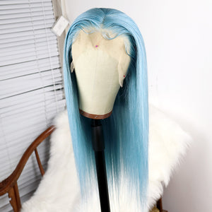 Preferred Hair Water Blue Brazilian Remy Human Hair Wig Straight  Wigs with Baby Hair Wigs for Women