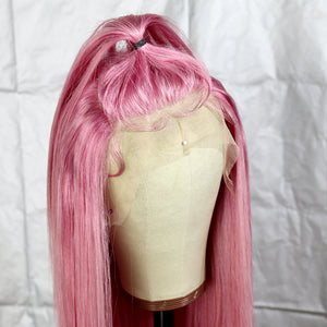 Preferred Hair Pink Brazilian Remy Human Hair Wig Straight  Wigs with Baby Hair Wigs for Women
