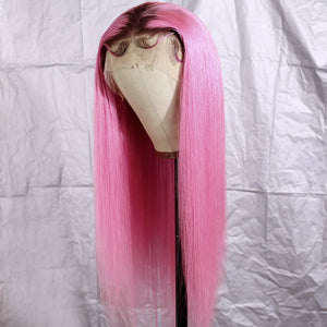 Preferred Hair Long Straight Wig of Human Hair with Baby Hair Brazilian Pink Ombre Lace Front Wig for Women