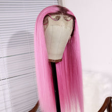 Load image into Gallery viewer, Preferred Hair Long Straight Wig of Human Hair with Baby Hair Brazilian Pink Ombre Lace Front Wig for Women