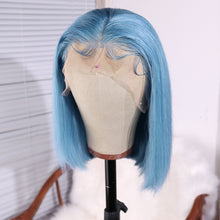 Load image into Gallery viewer, Preferred Hair Pale Blue Human  Lace Wig Straight Short bob wig Wigs for Women