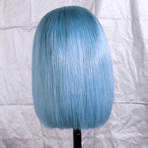 Preferred Hair Pale Blue Human  Lace Wig Straight Short bob wig Wigs for Women