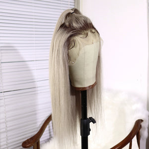 Preferred Hair Gray Ombre Long Straight Human hair Lace Front Wigs for Women