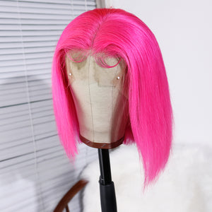Human Hair Favorite Hot Pink Brazilian Human Hair Lace Front Wig Straight Short Bob Wigs for Women
