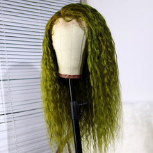 Load image into Gallery viewer, Human Hair Favorite Dark Green Brazilian Human Hair Lace Front Wig Long Deep Curly Wigs for Women