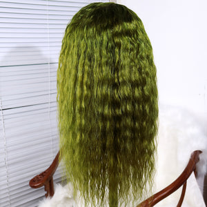 Human Hair Favorite Dark Green Brazilian Human Hair Lace Front Wig Long Deep Curly Wigs for Women