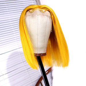 Short Yellow Remy Brazilian Human Hair Bob Wig for Women