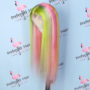 Preferred Hair Rainbow Colorful Customized Wig Human Hair Lace Front Wig Long Vrigin Hair for Women