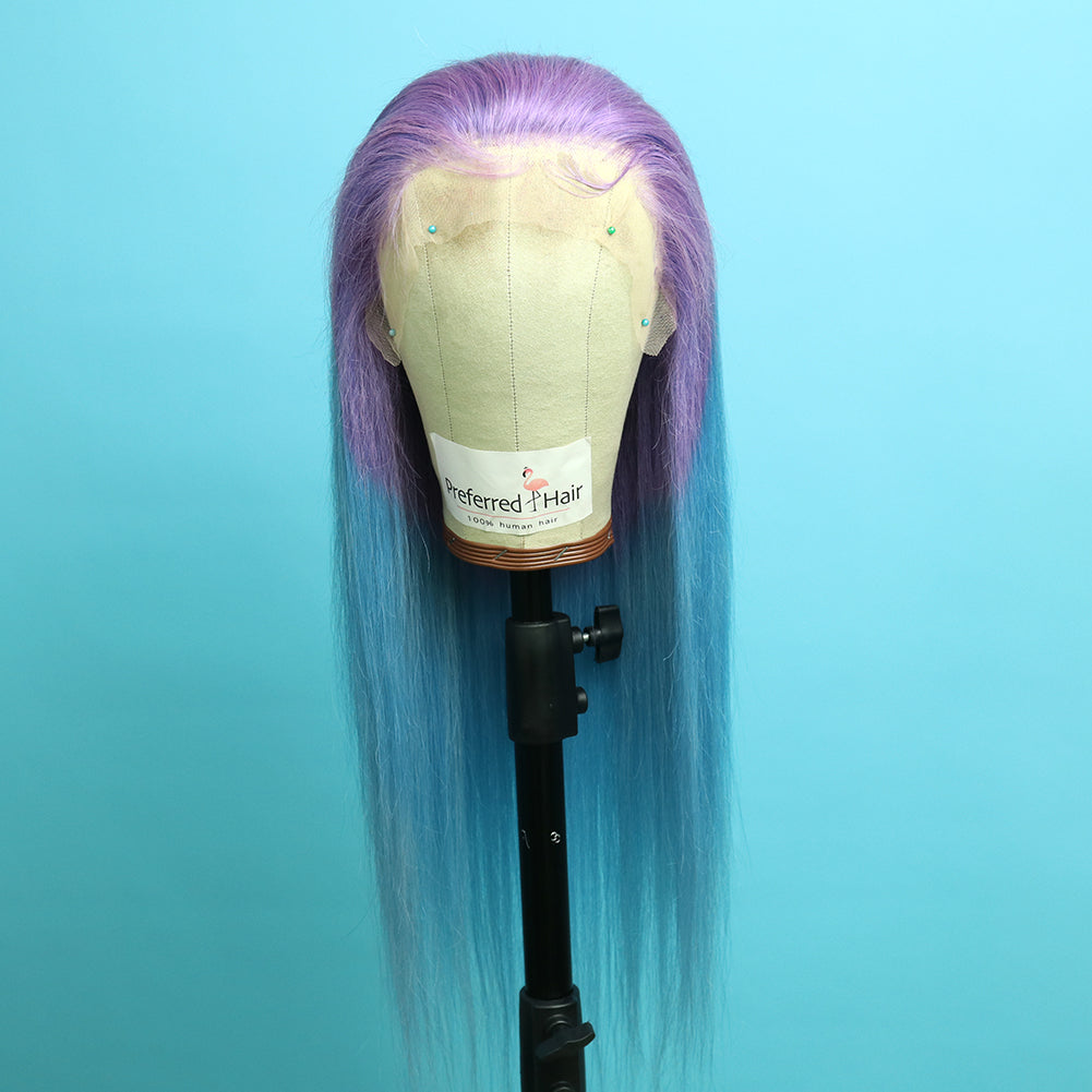 Preferred Human Favorite Purple Ombre Blue Lace Wig Long Straight  Front Lace Wigs for Women