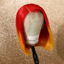 Load image into Gallery viewer, Preferred Human Red Ombre Yellow Lace Front Wigs Short Bob Remy Hair for Women