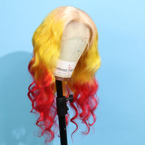 Preferred Human Yellow Ombre Red Lace Front Wigs Body Wave Long Remy Hair for Women