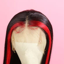 Load image into Gallery viewer, Long Straight Black with Red Highlight Human Hair Lace Front Wig