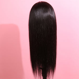 Long Straight Black with Red Highlight Human Hair Lace Front Wig