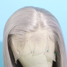 Load image into Gallery viewer, Preferred Human Gray Lace Front Wigs Long Straight Remy Hair for Women