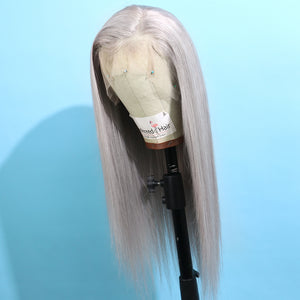 Long Gray Remy Human Hair Lace Front Wig for Women