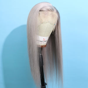 Preferred Human Gray Lace Front Wigs Long Straight Remy Hair for Women