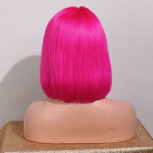 Preferred Human Rose Red Pink Lace Front Wigs Short Bob Remy Hair for Women