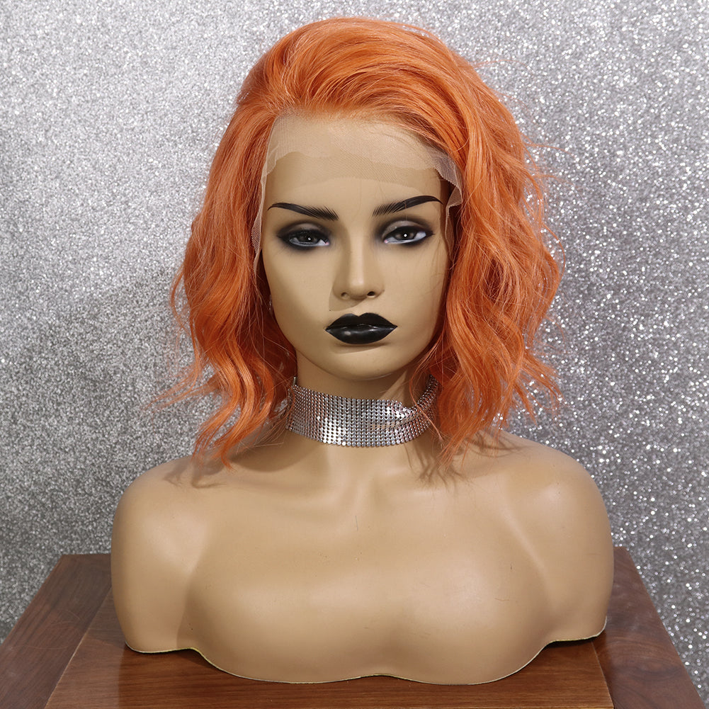 Preferred Human Orange Lace Front Wigs Short Bob Wave Remy Hair for Women