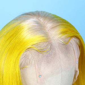 Blonde to Yellow Ombre Lace Front Bob Wig of Human Remy Hair