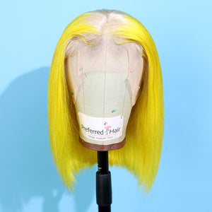 Preferred Human Yellow Ombre Lace Front Wigs Short Bob Remy Hair for Women
