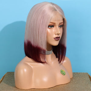 Short Gray Ombre Red Remy Human Hair Lace Front Bob Wig