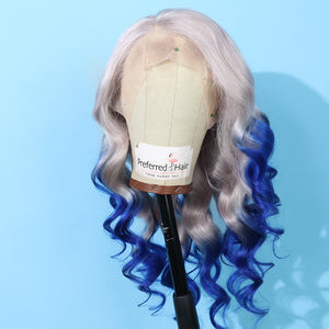Preferred Human White Gray Ombre Blue Lace Front Wigs Deep Wave Long Remy Hair for Women