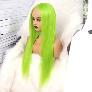 Preferred Hair Human Green Lace Front Wigs Straight Brazilian Human Hair Lace wigs for Women
