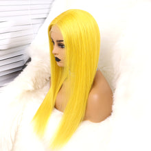 Load image into Gallery viewer, Preferred Human Hair Yellow Straight Lace Front Wigs for Women