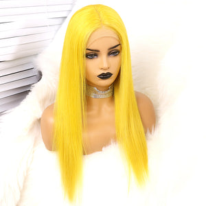 Preferred Human Hair Yellow Straight Lace Front Wigs for Women