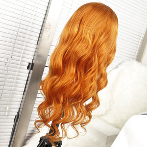 Preferred Lace Front Human Hair Orange Yellow Body Wave Wigs for Women