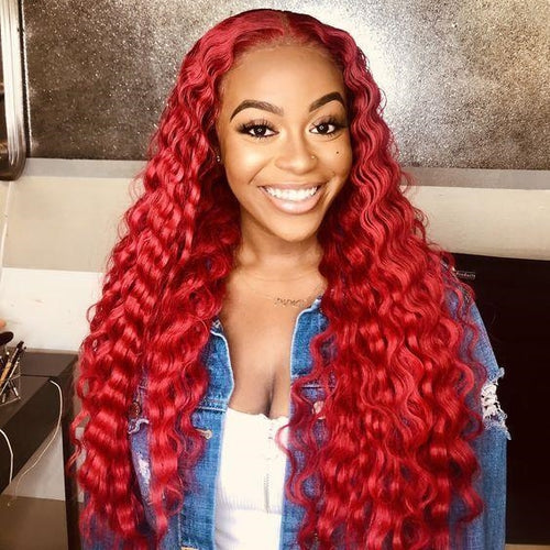 Gorgeous Red Curly Human Hair Lace Front Wig for Women