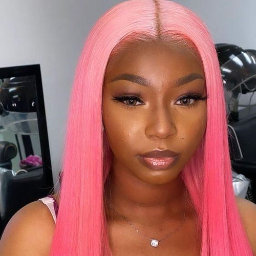 Light to Dark Pink Ombre Remy Human Hair Lace Wigs for Women