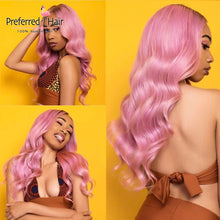 Load image into Gallery viewer, pink-human-hair-wig