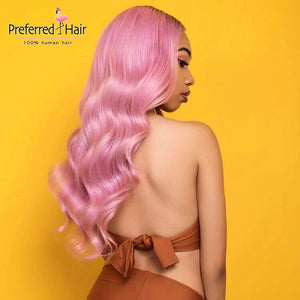 Preferred Hair Brazilian Remy Hair Body Wave Seamless Pink Ombre Wig with Red Baby Hair Human Hair Wigs for Women