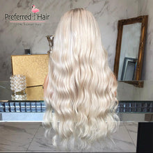 Load image into Gallery viewer, Preferred Platinum Blonde Ombre Human Hair Wig Brazilian Remy Loose Wave Wig Preplucked Transparent Lace Wigs for Black Women