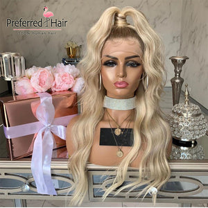 Preferred Platinum Blonde Ombre Human Hair Wig Brazilian Remy Loose Wave Wig Preplucked Transparent Lace Wigs for Black Women