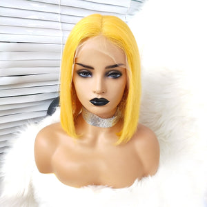 Straight Yellow Bob Wig of Human Hair with a Lace Front for Girls