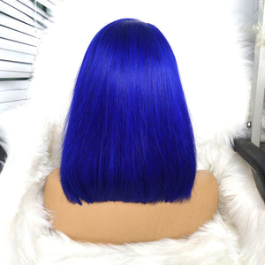 Preferred Hair Blue Hair Wig of Human Hair with Baby Hair Brazilian Lace Front Wig Short Bob Wigs for Women