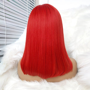 Promotion Human Hair Favorite Red Brazilian Human Hair Lace Wig Straight Short bob wig Wigs for Women