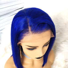 Load image into Gallery viewer, Preferred Hair Blue Hair Wig of Human Hair with Baby Hair Brazilian Lace Front Wig Short Bob Wigs for Women