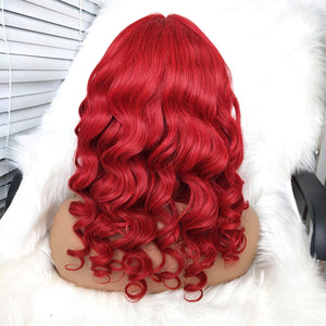 Body Wave Red Human Hair Wig with Lace Front for Women