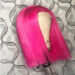 Human Hair Favorite Pink Brazilian Human Hair Lace Wig Straight Short Bob Wigs for Women