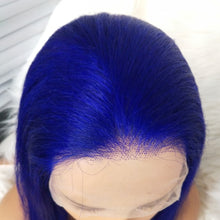 Load image into Gallery viewer, Preferred Human Blue Hair Wig Hair Straight Hair Wig Lace Front Wigs for women